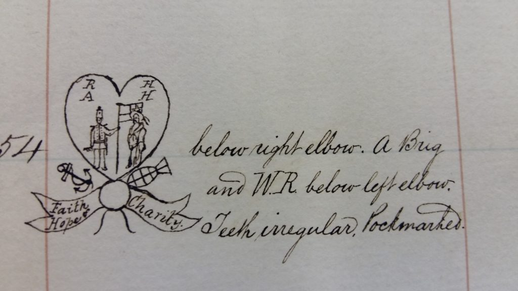 Photograph of tattoo drawn in ink, extracted from a gaol register.