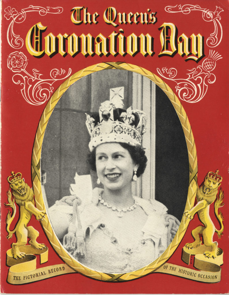 Scan of coloured cover of programme for Queen's coronation day.