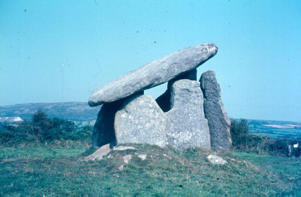 Colour photograph of Trethevy Quoit.