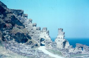 Colour photograph of Tintagel Castle.