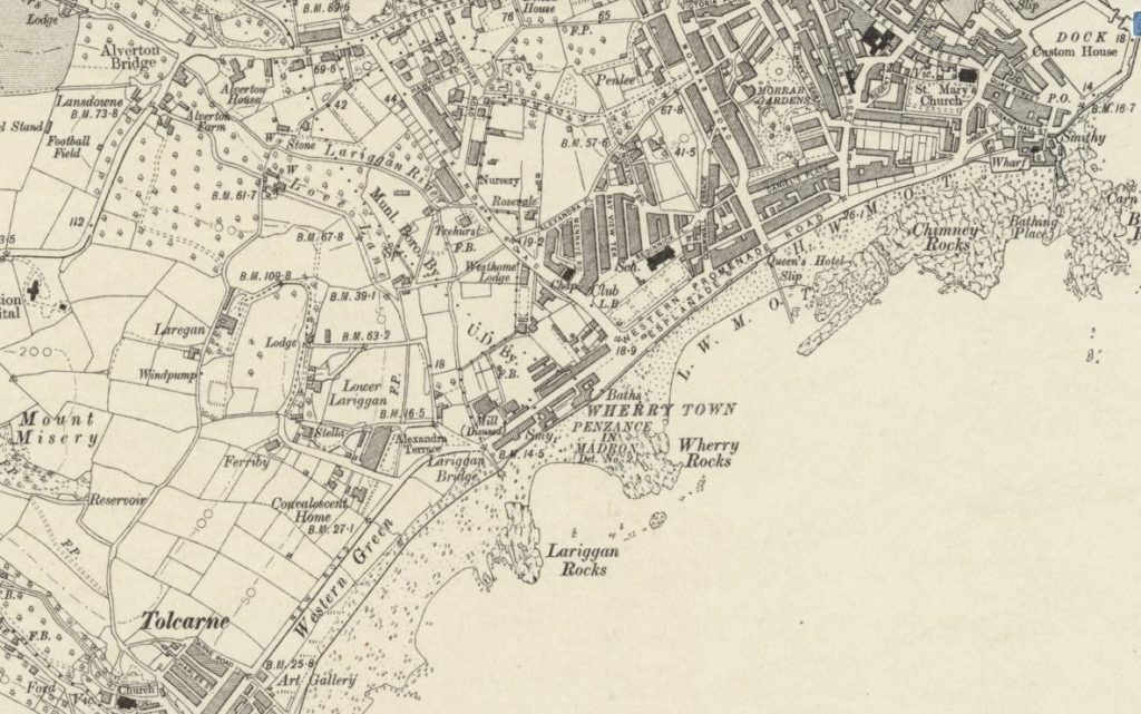 Extract from printed Ordnance Survey map showing Penzance.
