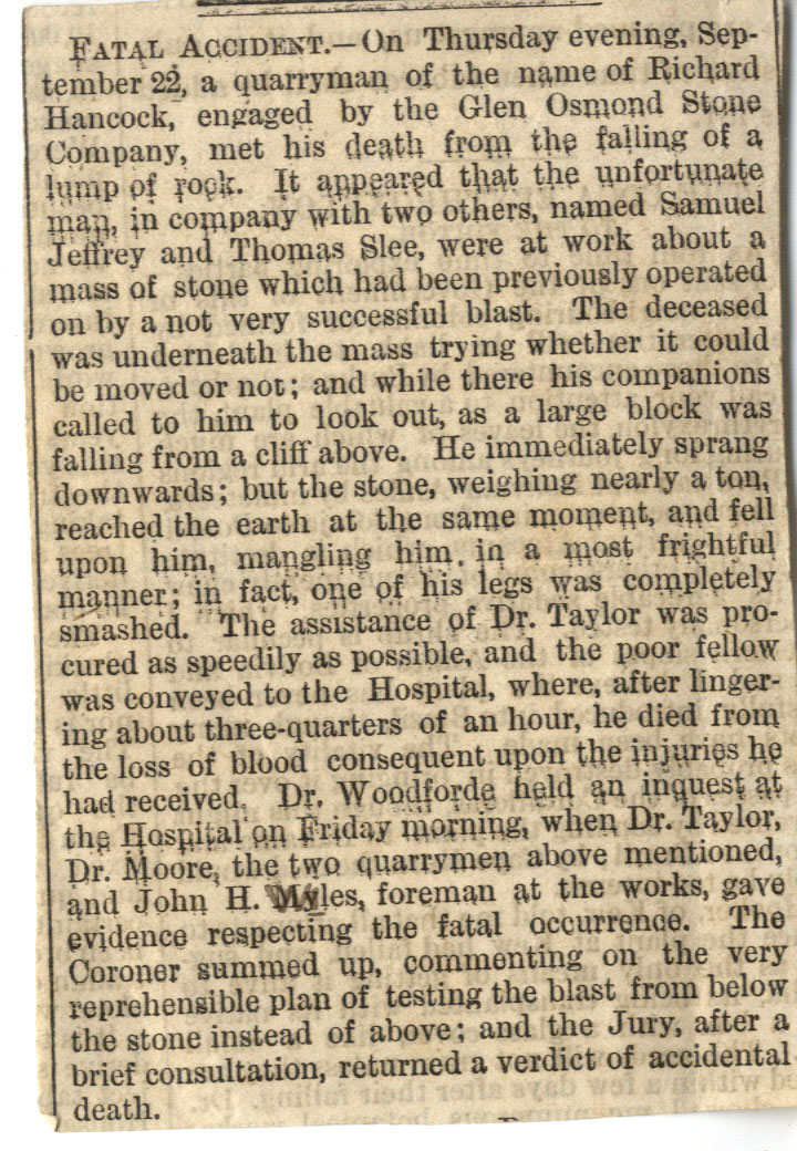 Digital image of newspaper article describing the death of Richard Hancock in Australia.