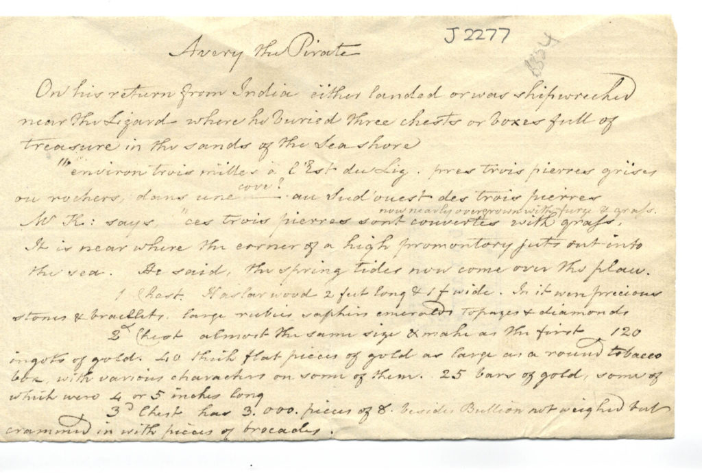 Scan of handwritten document describing where Avery the pirate buried his treasure.