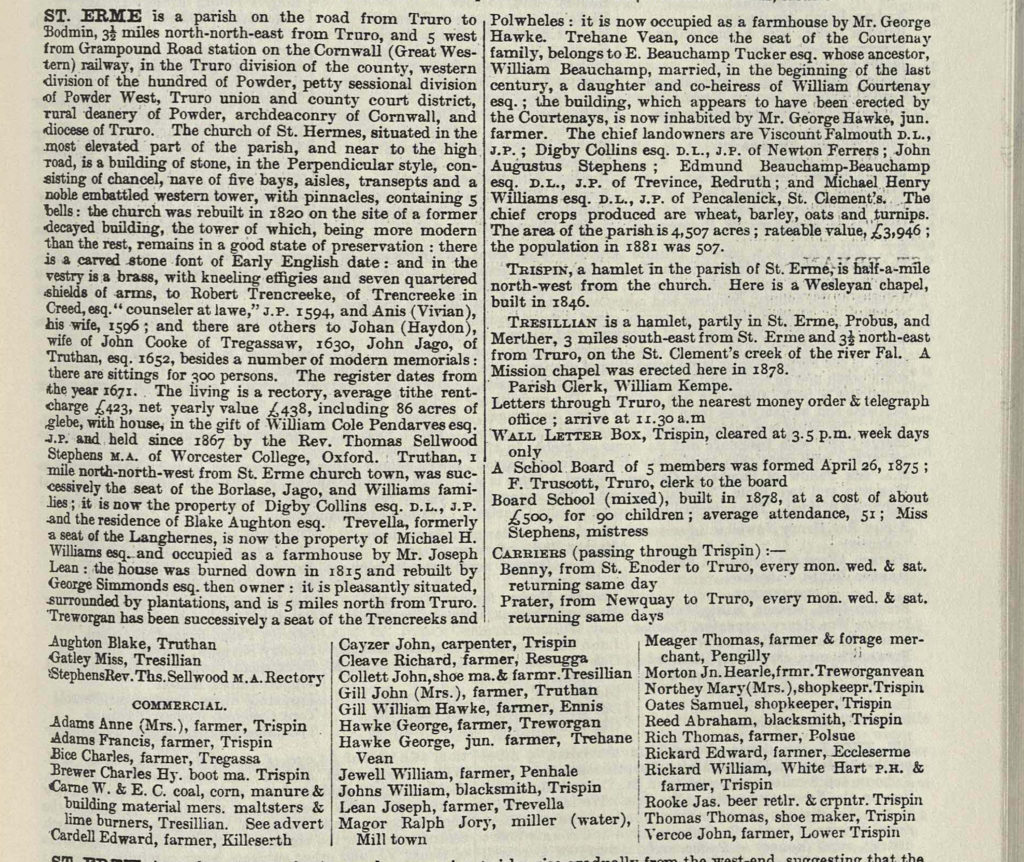 Extract from printed directory showing information about St Erme in 1889.