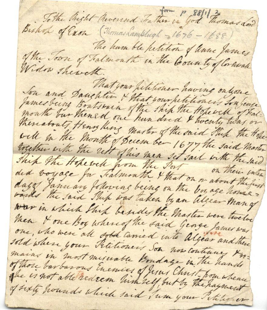 Scan of a handwritten petition.