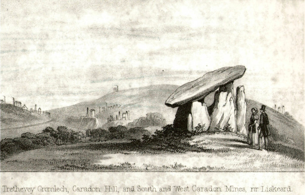 Black and white engraving from John Allen's 1856 book about Liskeard showing Trethevy Quoit and various mines.