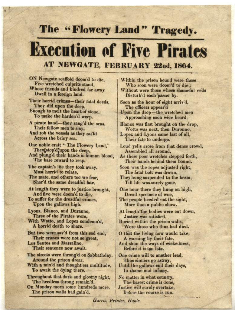 Digital copy of printed pamphlet about the execution of five pirates.