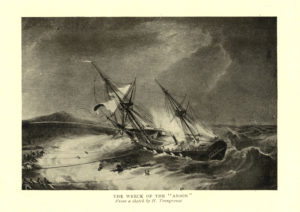 Scan of black and white engraving showing the wreck of the Anson.