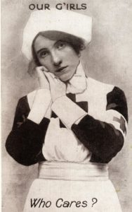 Black and white postcard of a nurse.