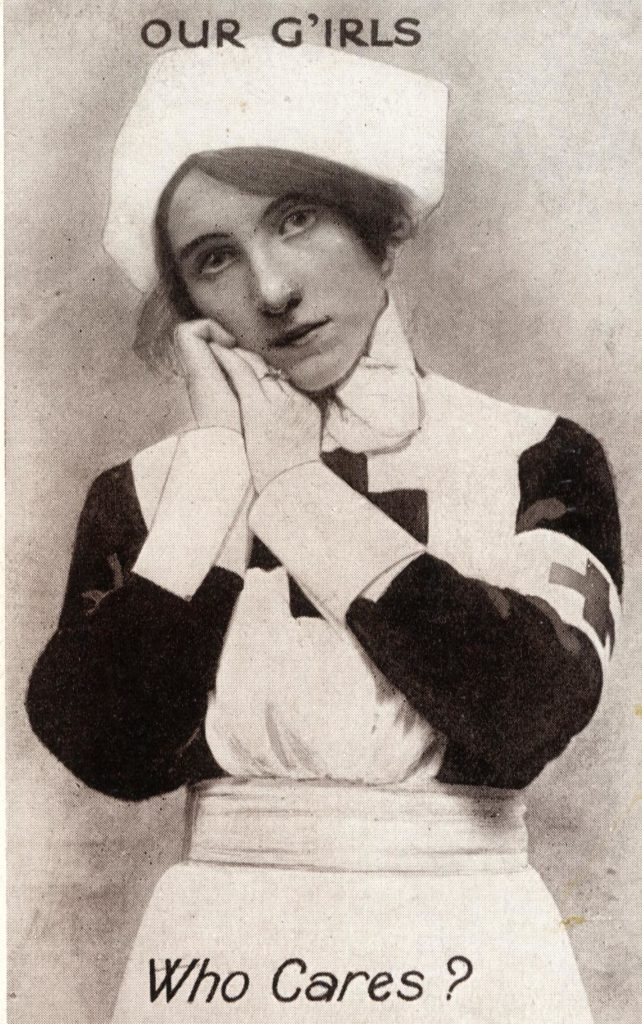 Black and white postcard of a nurse.