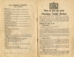 Scan of printed instructions about how to put up a Morrison shelter.