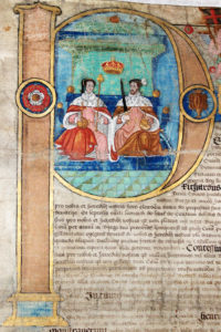 Beautiful coloured drawing showing Queen Mary I and her husband.