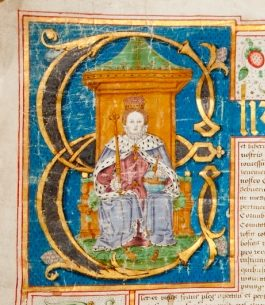 Photograph of charter from Queen Elizabeth I with beautiful coloured illustrations of the Queen as well as flowers and strawberries.