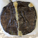 Photograph of a large brown wax seal featuring Queen Elizabeth I.