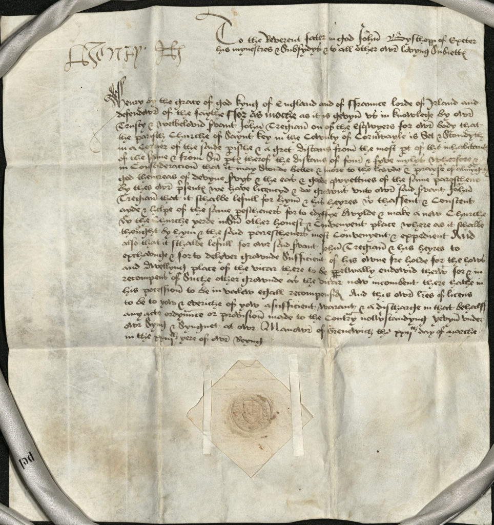 Photograph of document on parchment signed by Henry VIII.