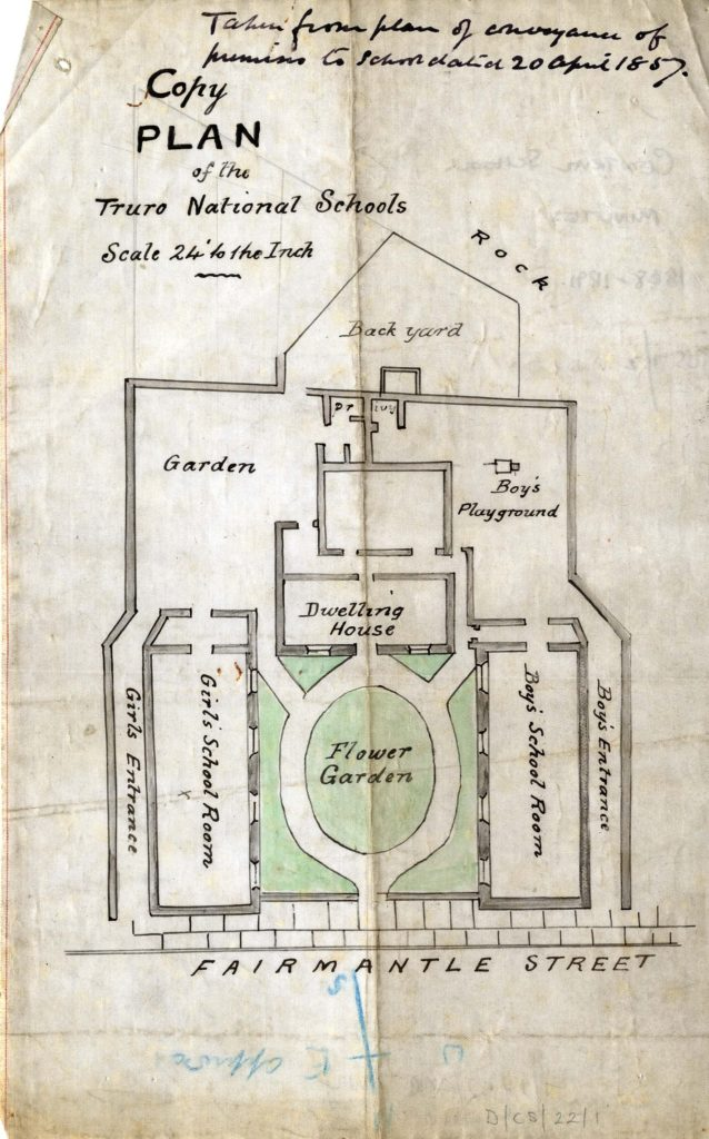 Scan of a coloured plan of a school.