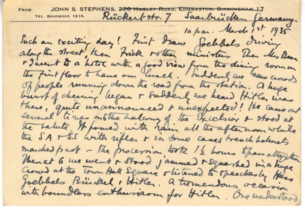 Scan of handwritten postcard describing events in Germany.
