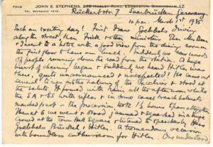 Scan of handwritten postcard describing events in Germany.