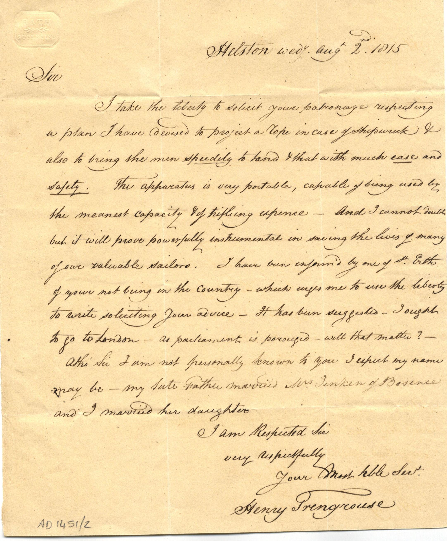 Handwritten letter from Henry Trengrouse