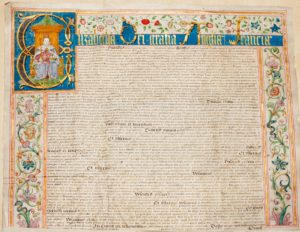 Photograph of beautifully illustrated coloured document showing Elizabeth I.
