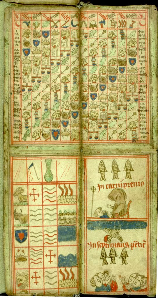 Photograph of page of coloured medieval calendar showing fine drawings of people and animals.
