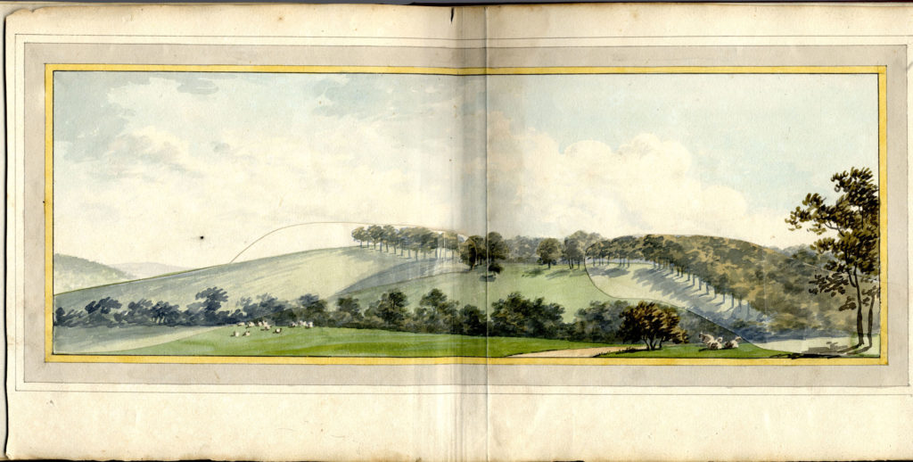 Scan of watercolour picture showing landscape.