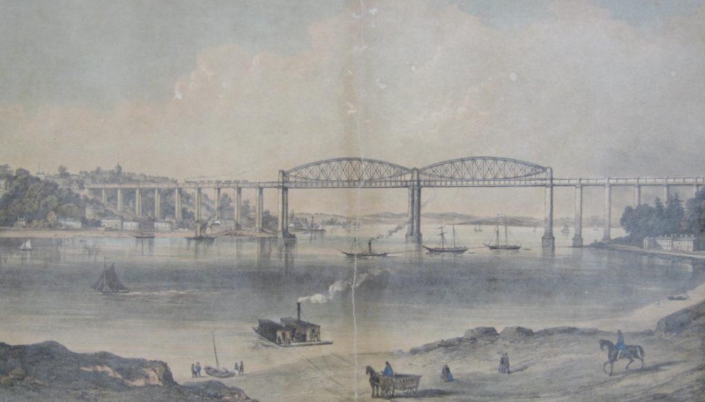 Watercolour painting of the Tamar Bridge.