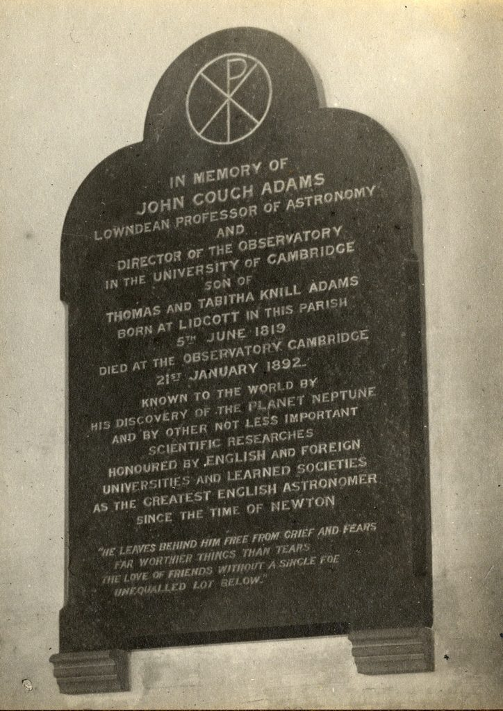 Photograph of memorial to John Couch Adams.