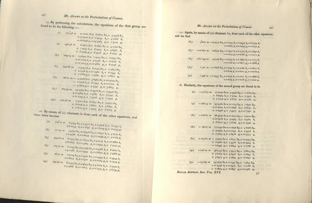 Scan of printed page of calculations.
