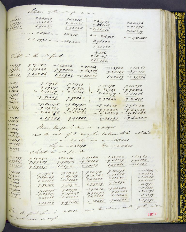 Scan of page showing handwritten mathematical calculations.