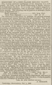 Scan of newspaper article about the discovery of Neptune.