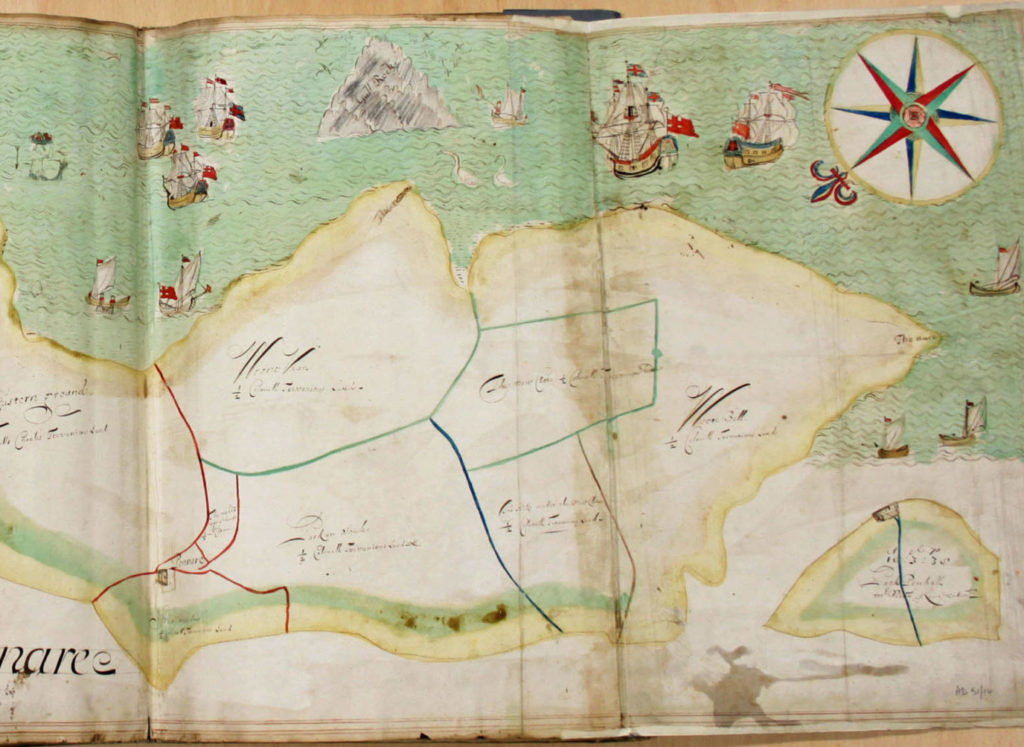 Photograph of colourful 17th century estate map.
