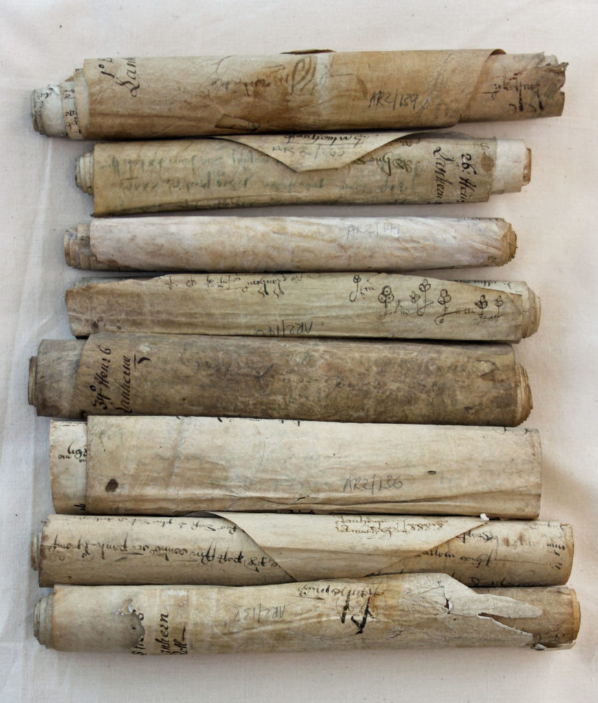 Photograph of rolls of parchment.