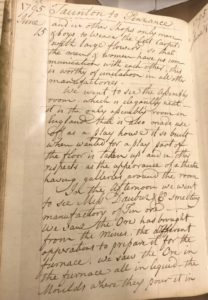 Photograph of handwritten page of travel diary.