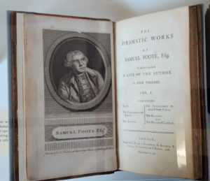 Photograph of inside pages of Samuel Foote book, including picture of the writer.