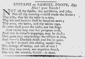 Scan of newspaper article with epitaph to Samuel Foote.