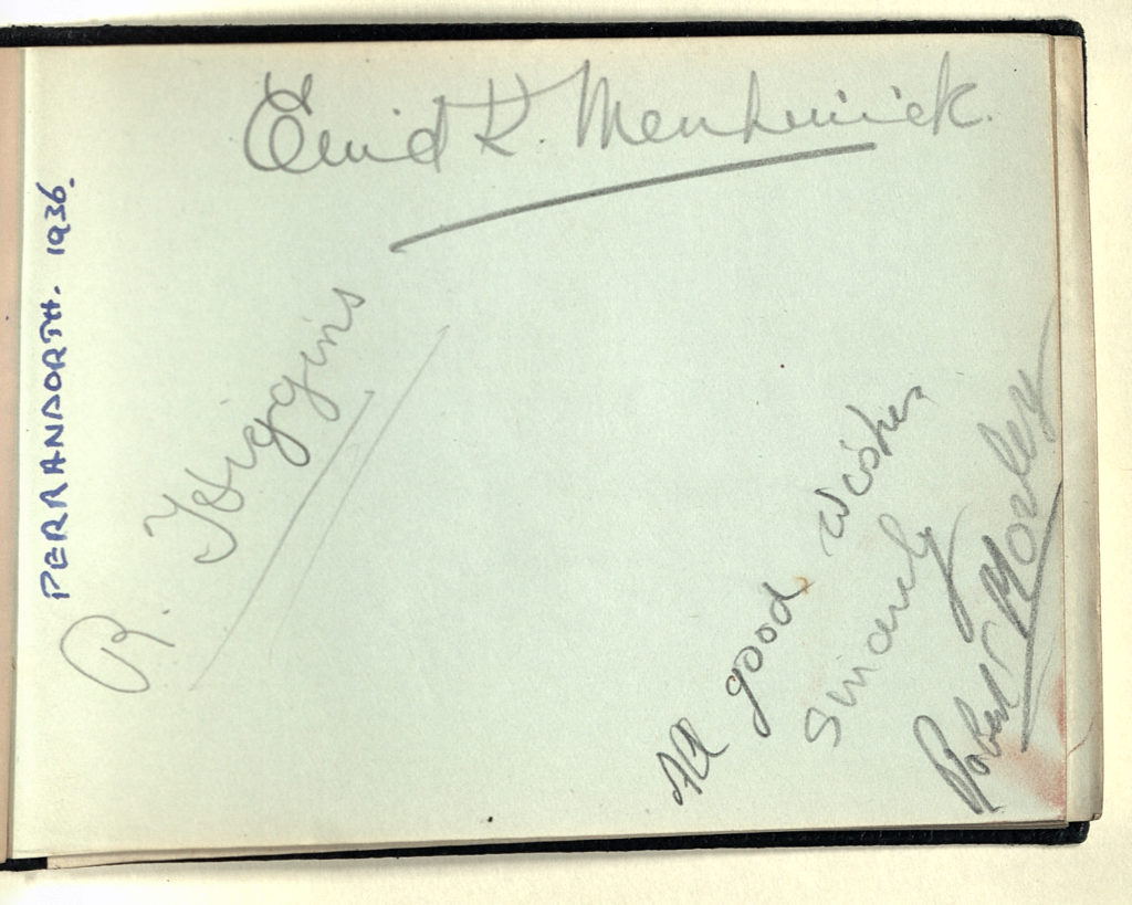 Scanned page of book featuring autographs of different people.