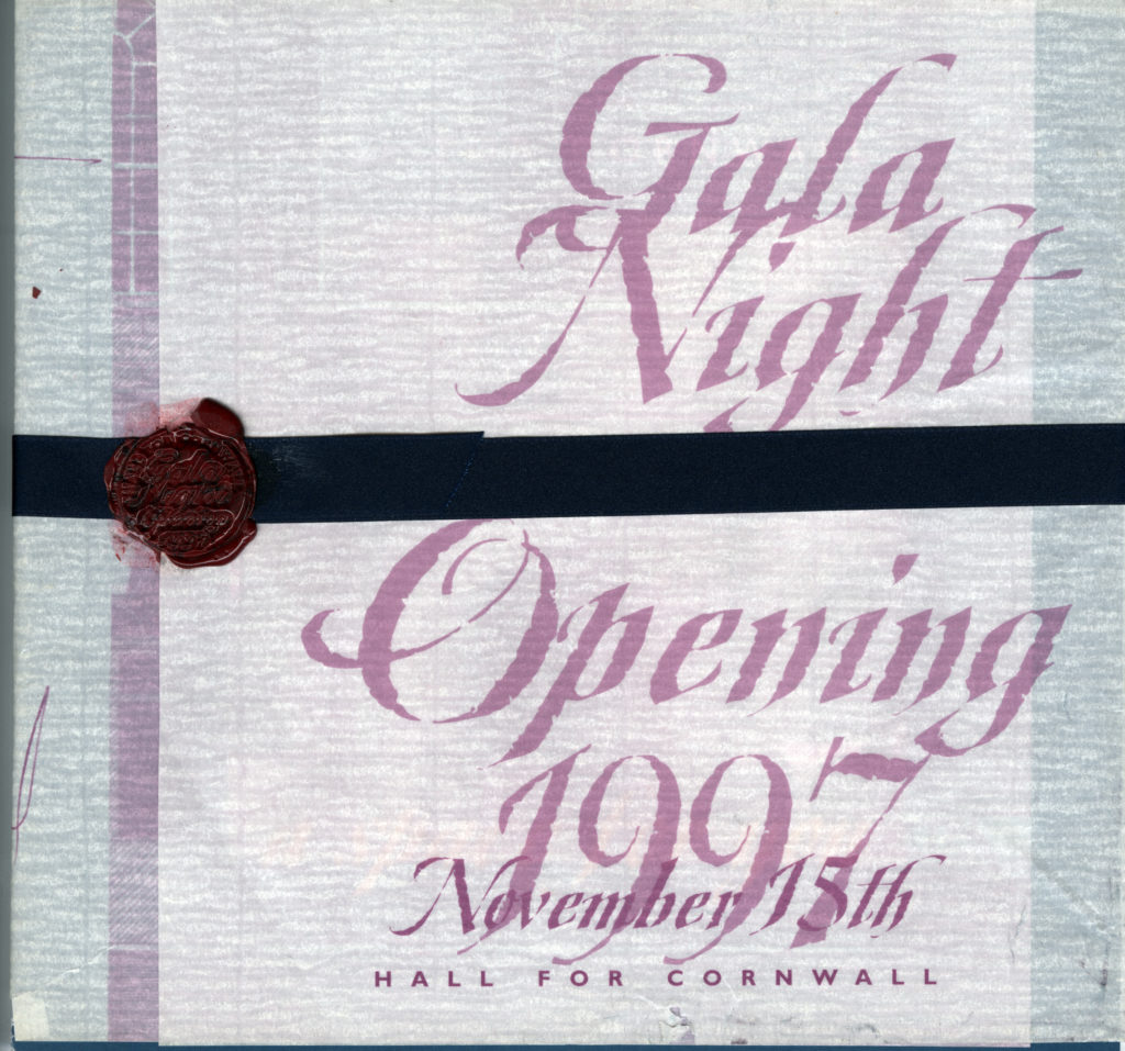 Scan of invitation to Hall For Cornwall opening night