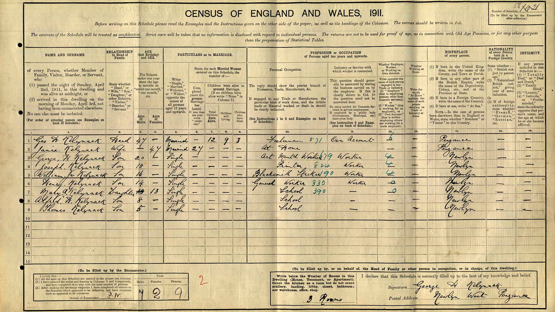 Scan of printed census entry form with handwritten entries.