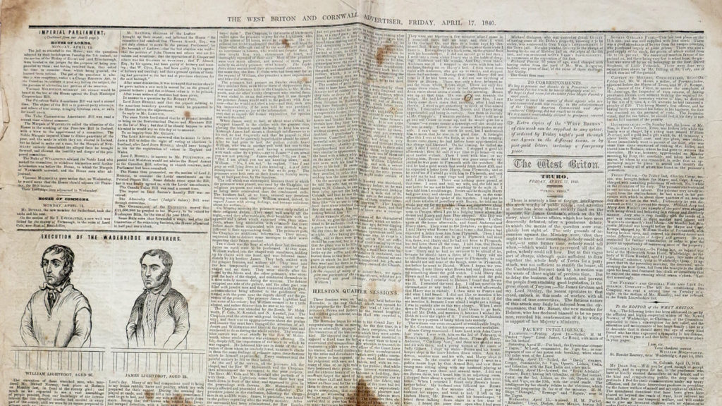 Colour photograph of an historic newspaper.