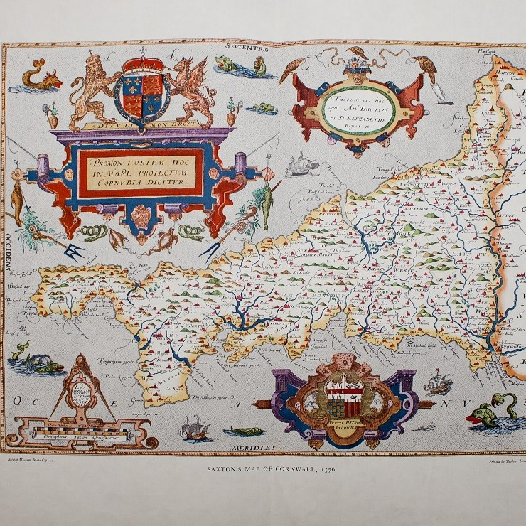 Colour copy of a Tudor map of Cornwall.