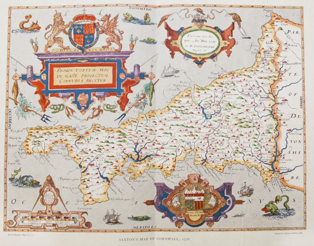 Scan of colourful map showing Cornwall surrounded by sea monsters and ships.