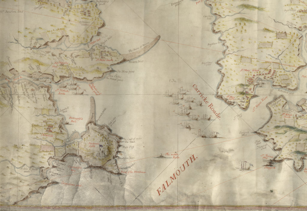 Photograph of extract from hand drawn and coloured map showing Pendennis Castle and River Fal.