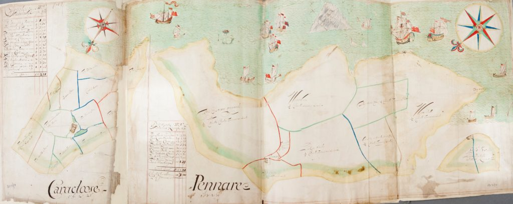 Photograph of a page from estate atlas showing land and water with details including ships and a mermaid.