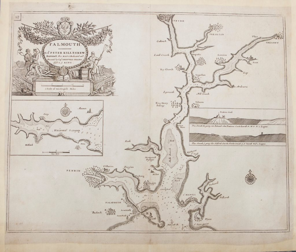 Scan of black and white map showing River Fal with elaborate decoration.