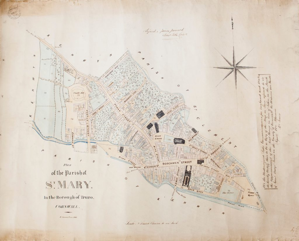 Photograph of coloured handdrawn map showing parish of St Mary in Truro in 1800s.