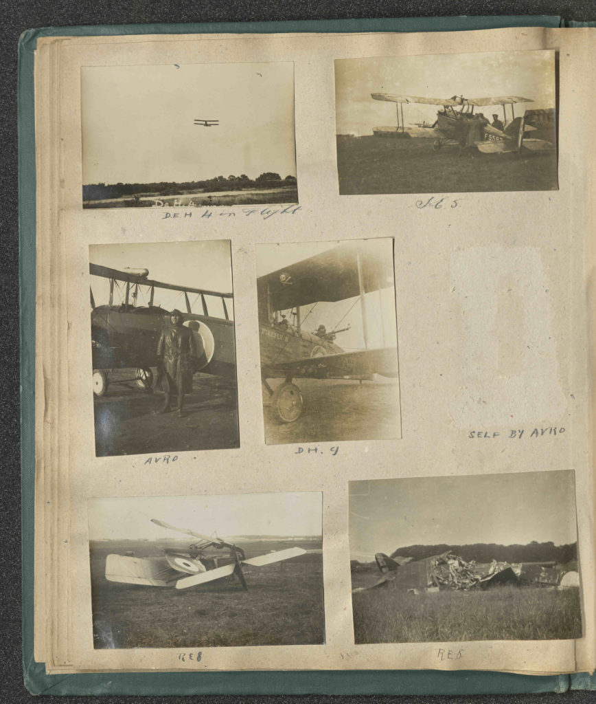 Scan of a photo album page showing small black and white photos of planes from World War I.
