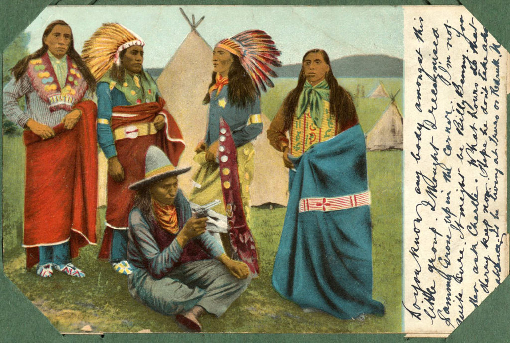 Colour scan of a coloured postcard showing Native Americans.