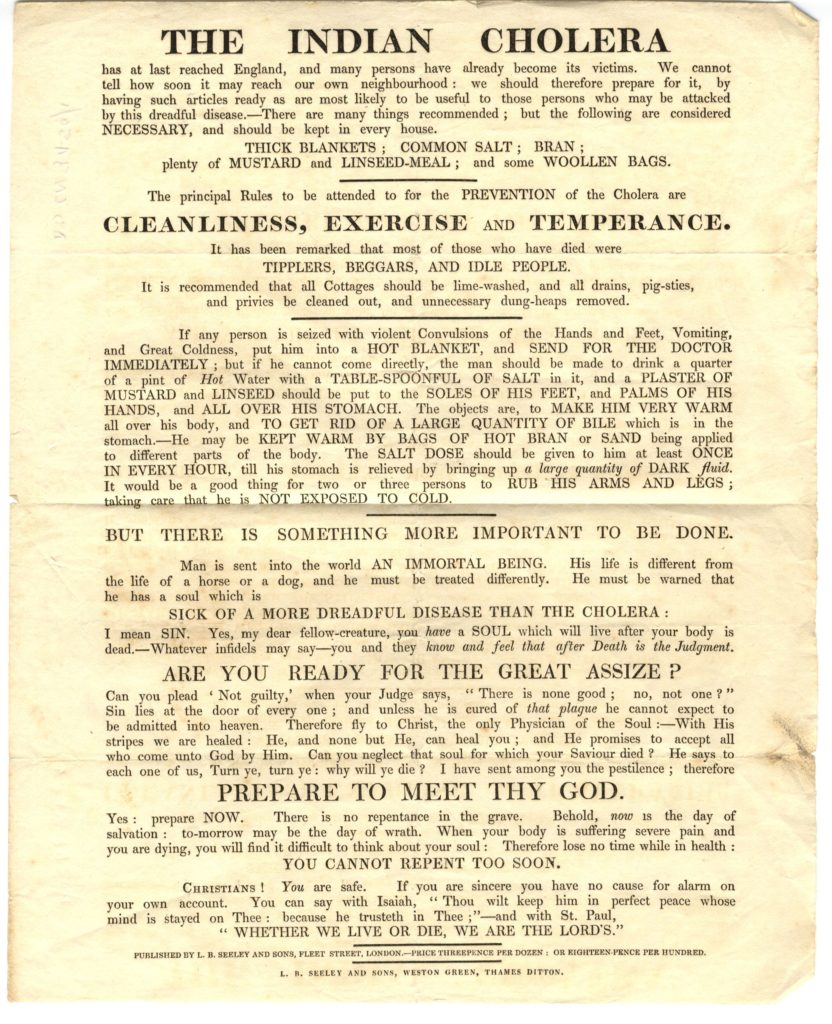 Scan of printed poster about cholera prevention.