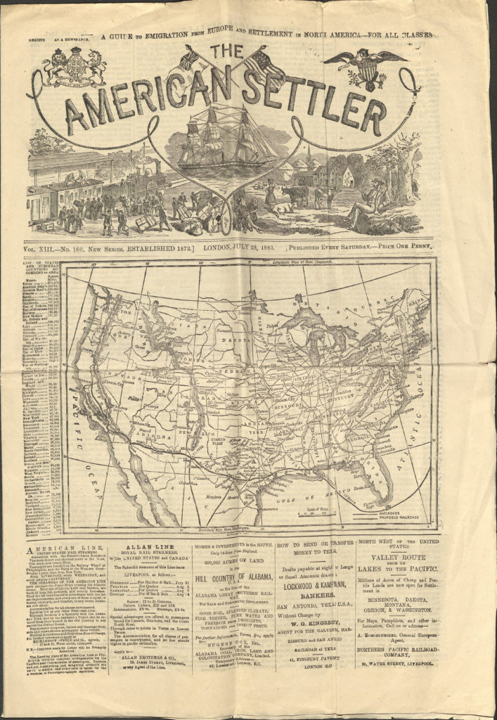 Scan of promotional newspaper for migration to America showing map of United States.